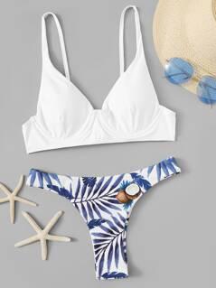 Bustier Bikini Top & Random Print Panty Bikini Set