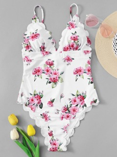 Random Flower Print Scalloped One Piece Swimsuit