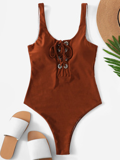 Grommet Lace Up One Piece Swimsuit