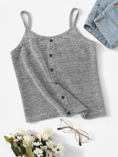 Button Front Knit Cami Top