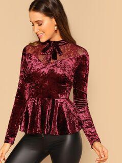 Bow Embellished Lace Yoke Velvet Peplum Top