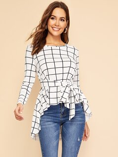 Waist Belted Asymmetrical Hem Grid Top