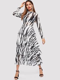 Layered Ruffle Mock-Neck Animal Print Dress