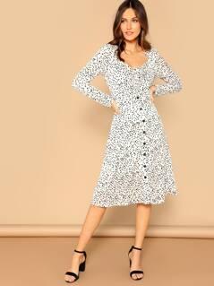 Dalmatian Print Knot Front Button Through Dress