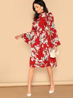 Ruffle Detail Bell Sleeve Flower Print Dress