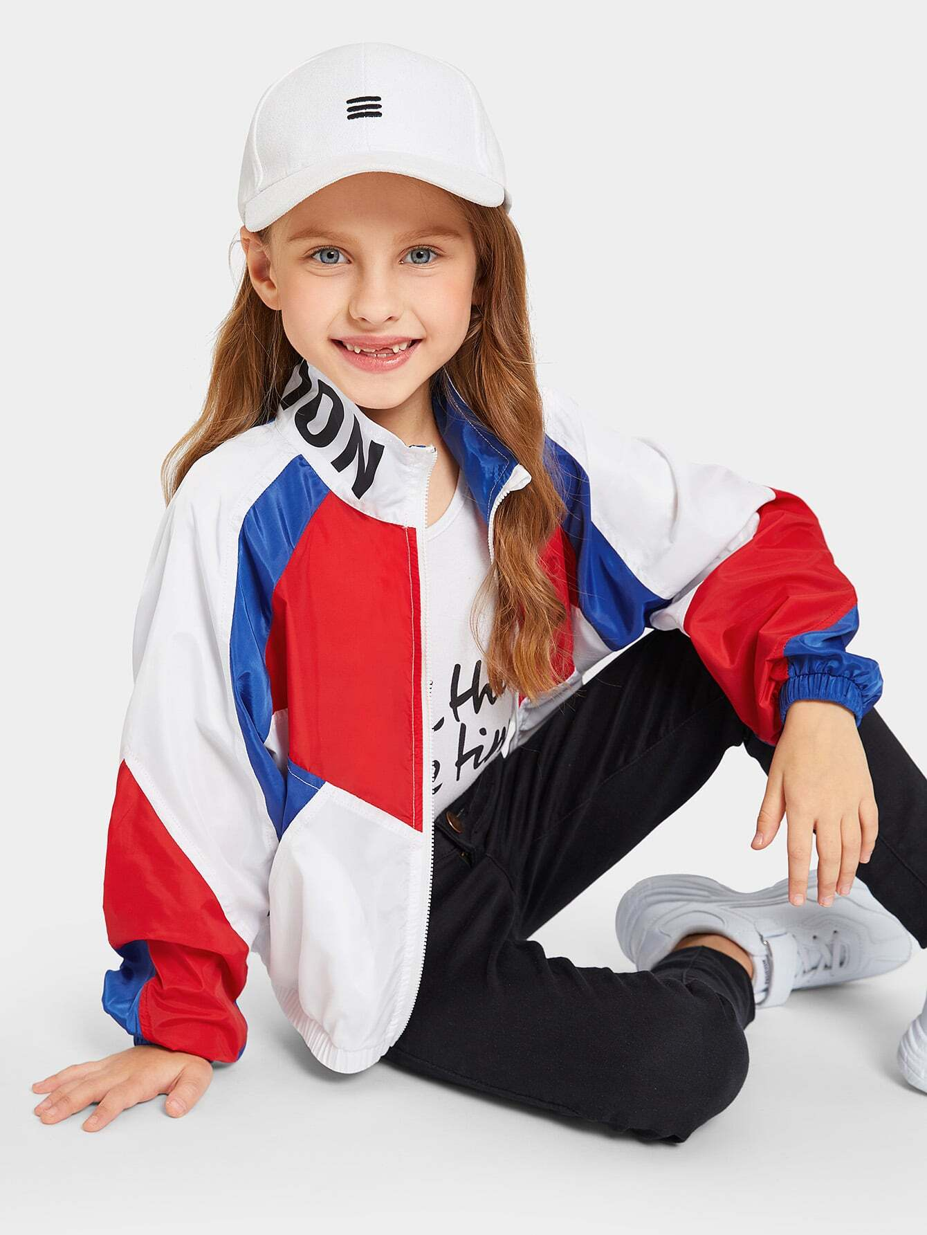 Купить Контрастная куртка ветровки с текстовым принтом на воротнике для девочек, Anna C, SheIn