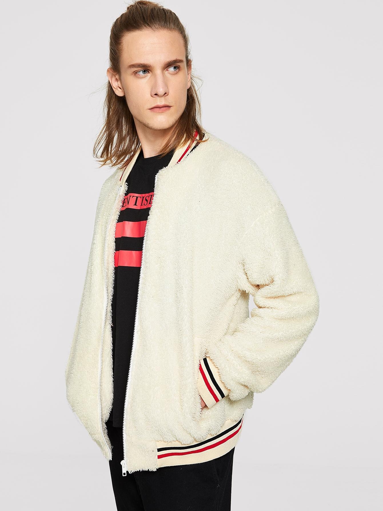 Купить Мужская пушистая куртка на молнии с полосками, EGOR, SheIn