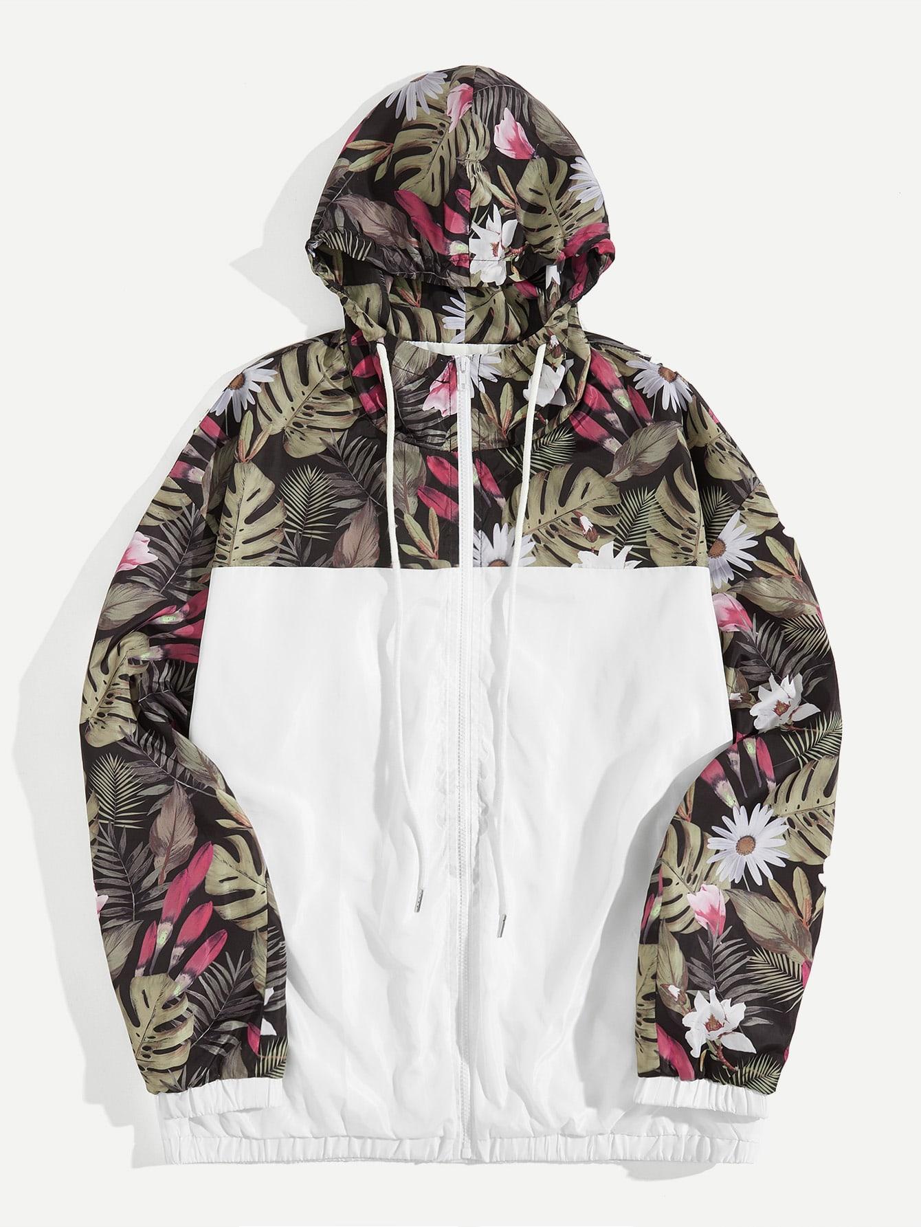 Купить Мужская контрастная куртка с капюшоном и графическим принтом, null, SheIn