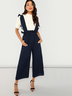 Solid Wide Leg Pants With Ruffle Strap