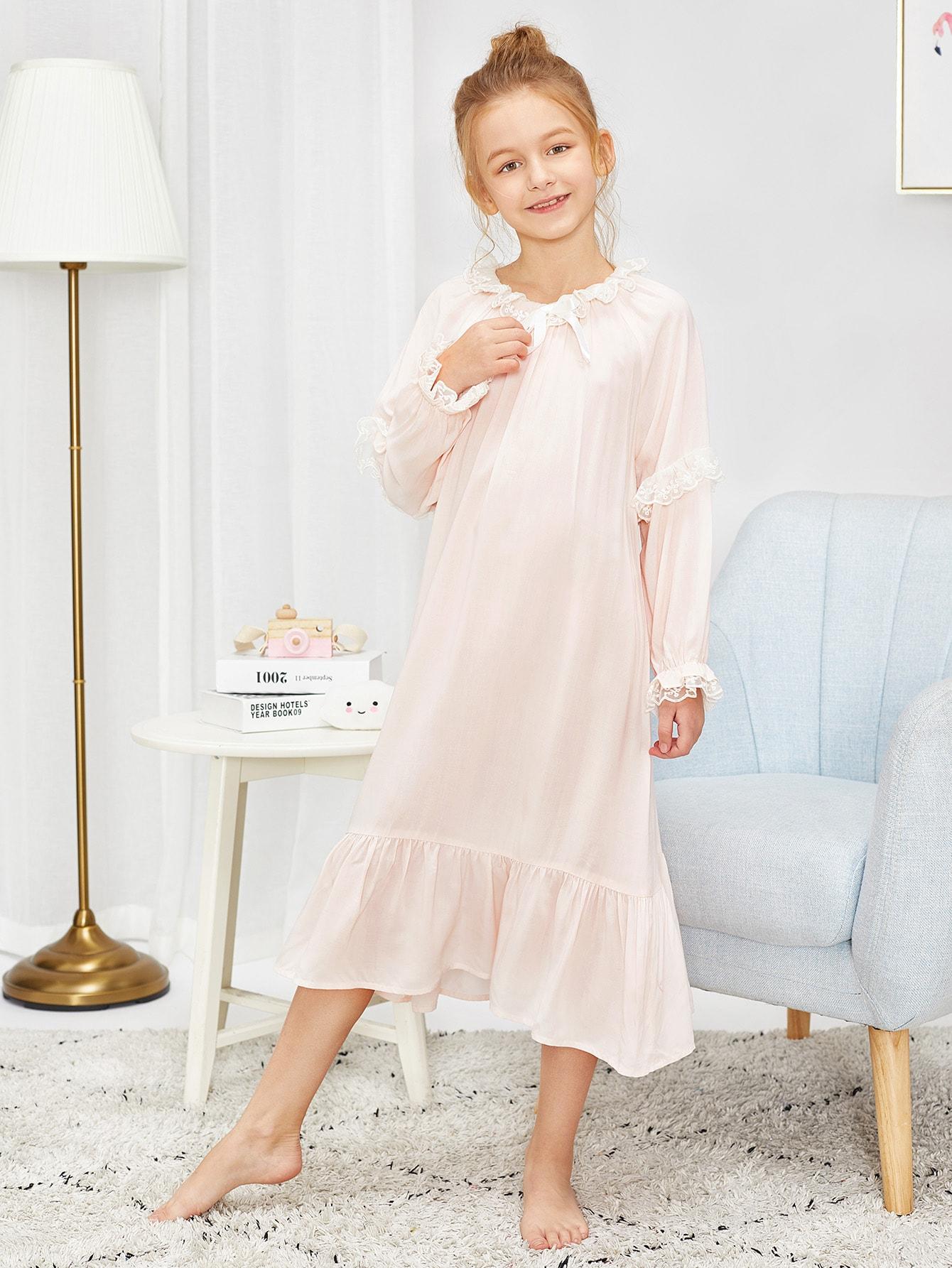 Контрастное кружевное вечернее платье с рюшами для девочек от SheIn