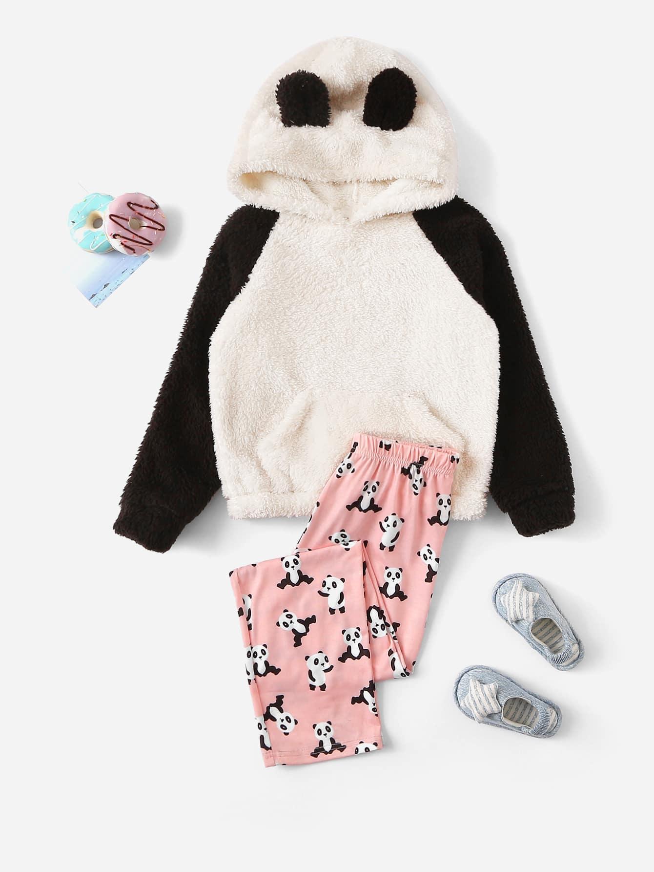 Толстовка тедди с принтом панды и брюки PJ с принтом для девочек от SheIn