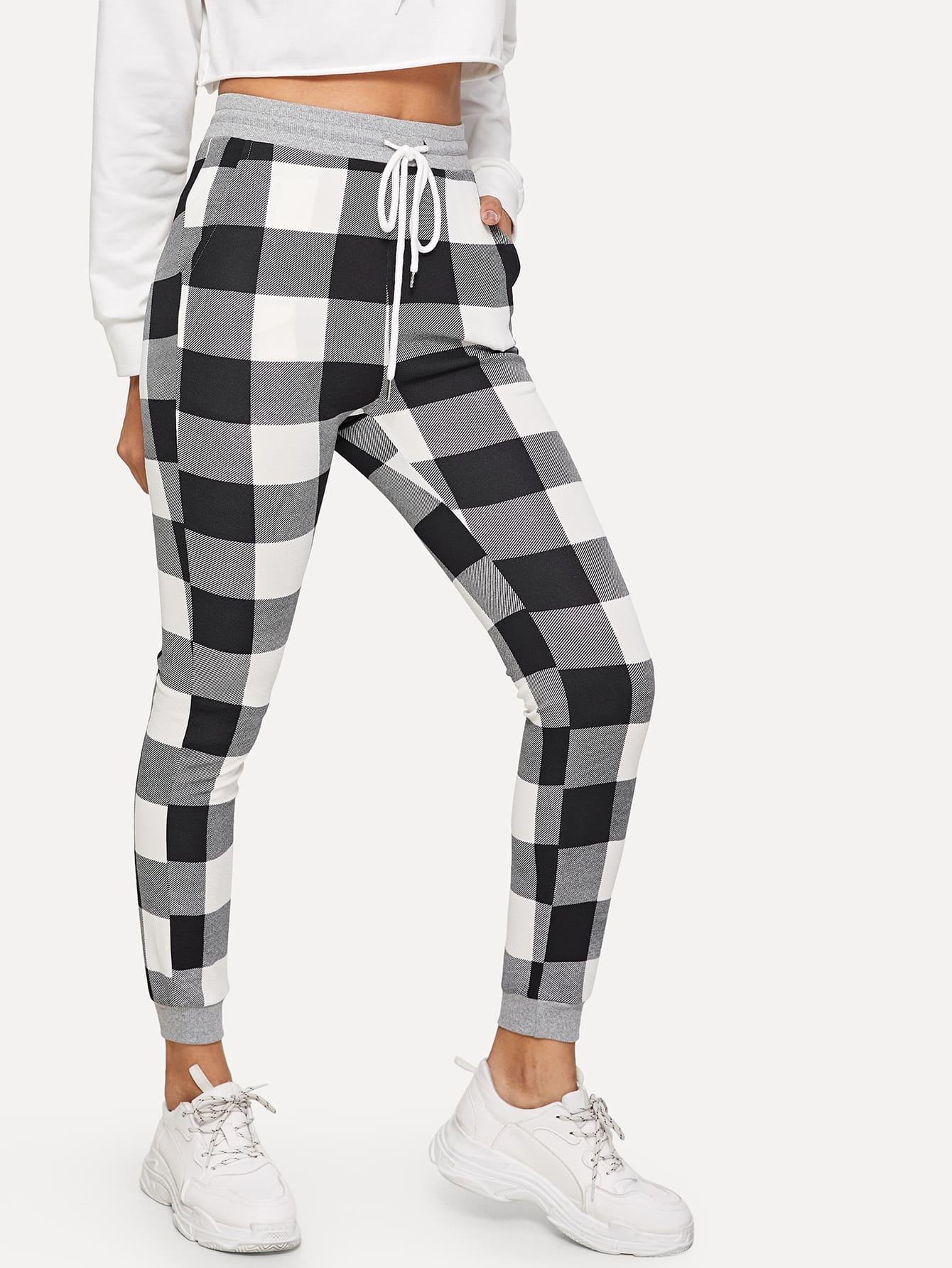 Купить Приталенные спортивные брюки с кулиской, Gigi, SheIn