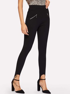 Zipper Detail Stirrup Pants