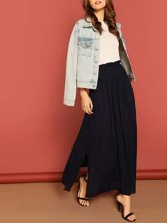Frill Waist Pleated Split Skirt