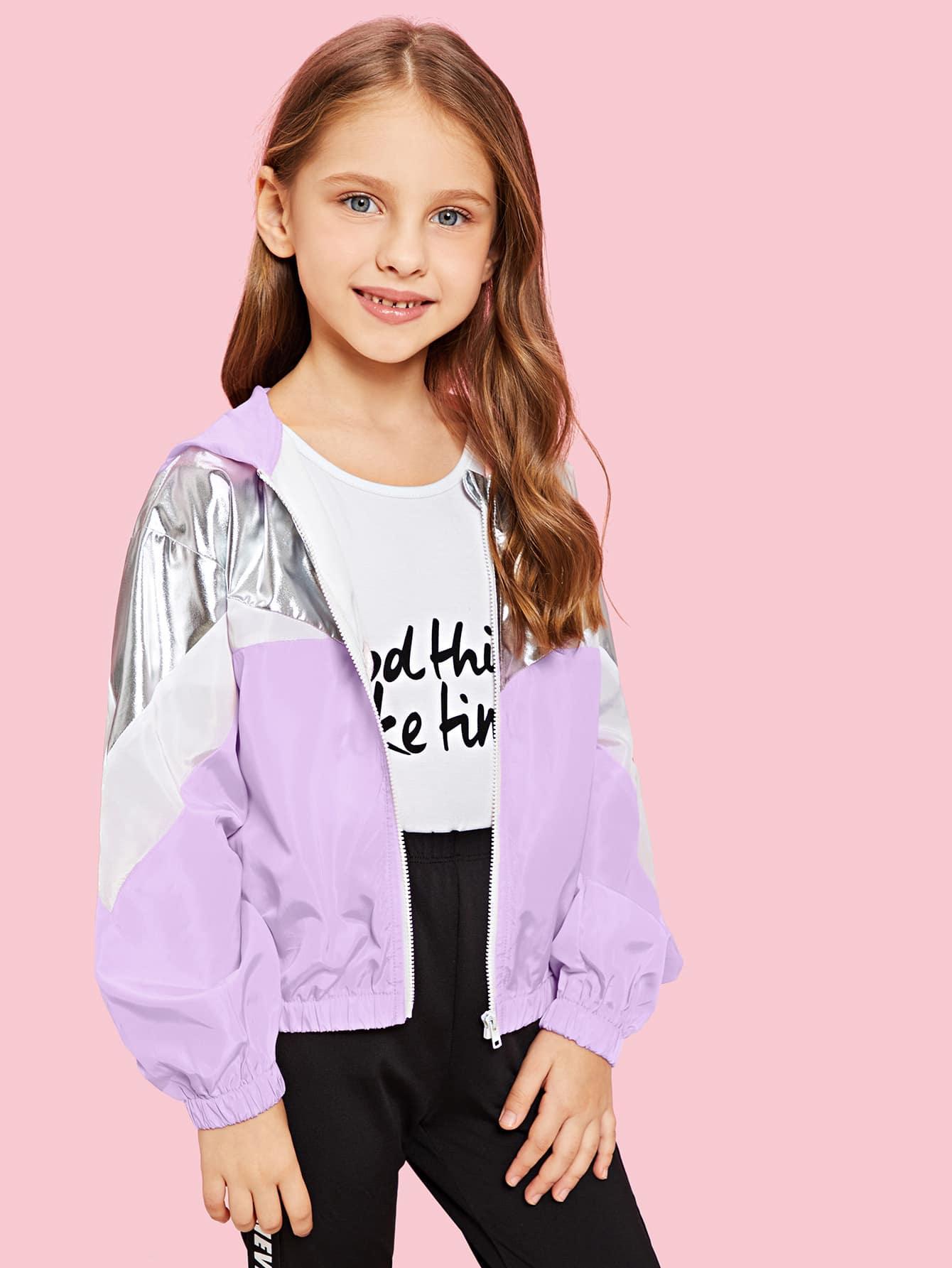 Купить Контрастная куртка на молнии с капюшоном для девочек, Anna C, SheIn