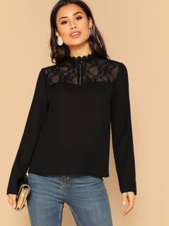 Mock Neck Lace Shoulder Top