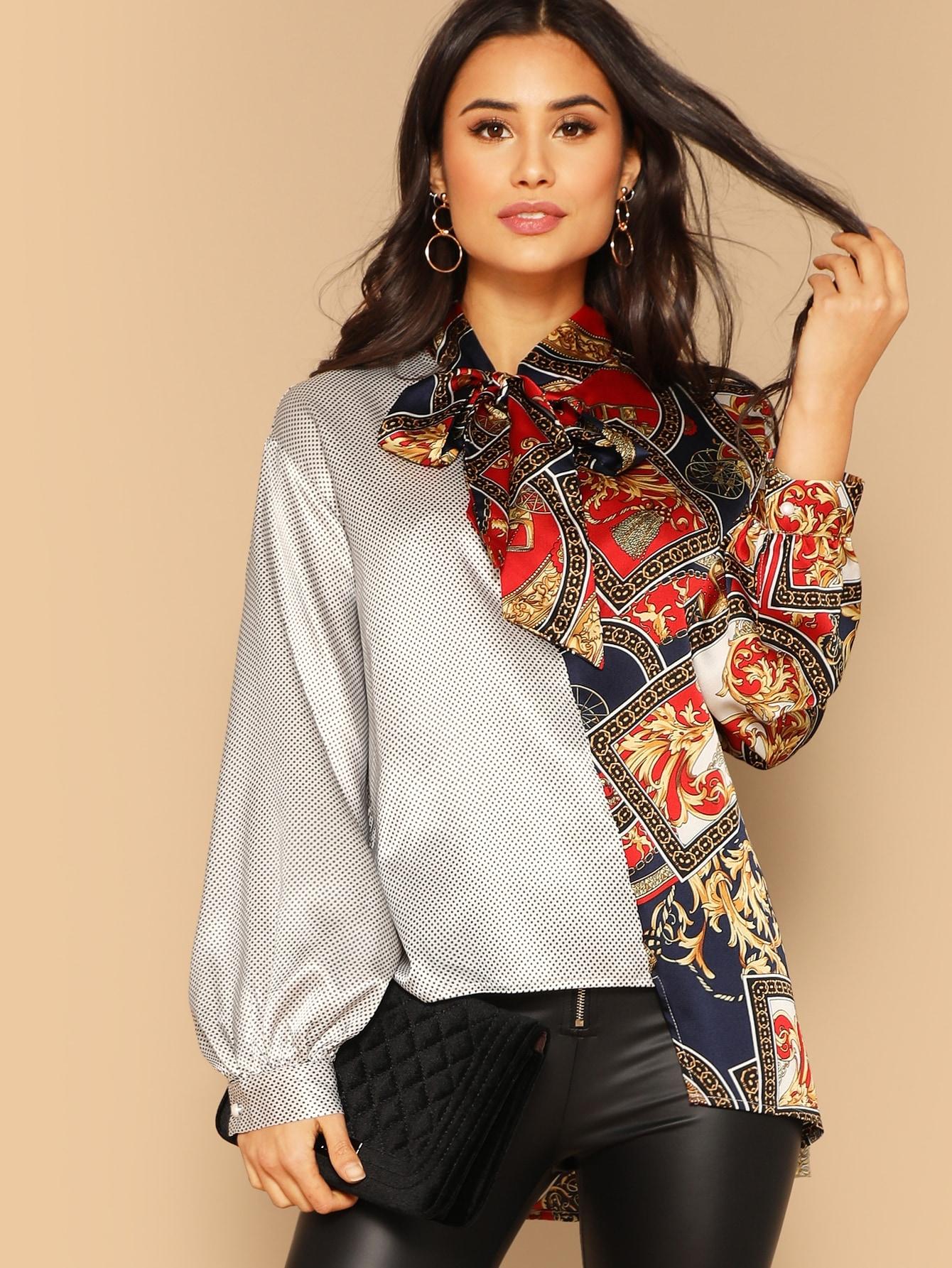 Купить Асимметричная блуза с завязкой на шее и оригинальным рукавом, Izzy Marshall, SheIn