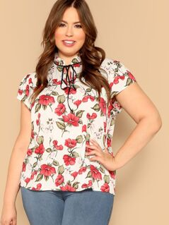 Plus Flower Print Frilled Neck Blouse