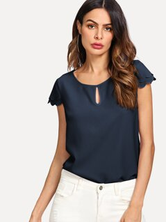Tiered Scallop Cap Sleeve Keyhole Top