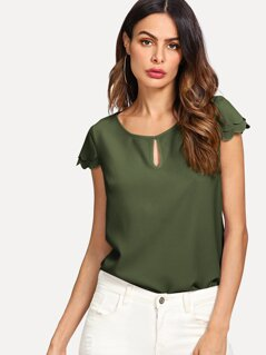 Keyhole Front Layered Scallop Sleeve Top