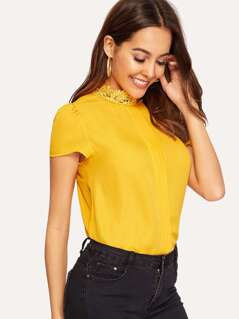 Lace Neckline Keyhole Back Solid Top