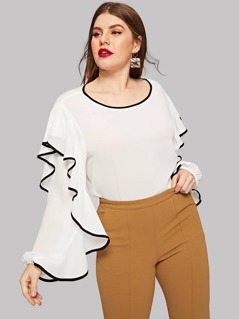 Plus Contrast Binding Exaggerated Sleeve Blouse