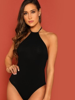 Halter Neck Backless Bodysuit
