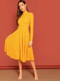 Keyhole Back Mock-neck Grid Fit & Flare Dress