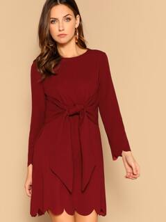 Scallop Edge Self Belted Dress
