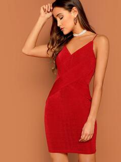 Crisscross Form Fitting Velvet Cami Dress