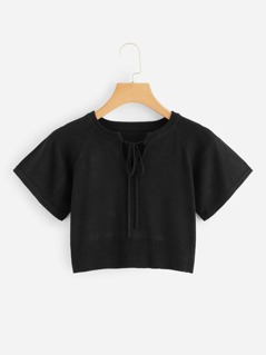 Tied Neckline Raglan Sleeve Solid Sweater