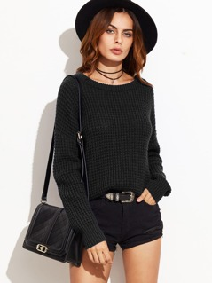 Drop Shoulder Waffle Knit Solid Sweater
