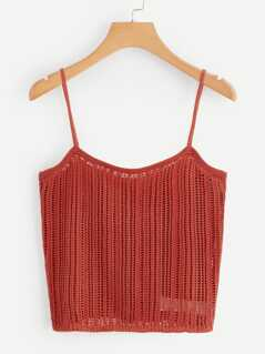 Solid Eyelet Crop Cami Top