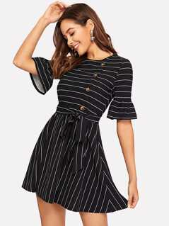 Flounce Sleeve Button Detail Striped Belted Dress