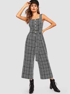 Button Detail Wide Leg Belted Tweed Jumpsuit