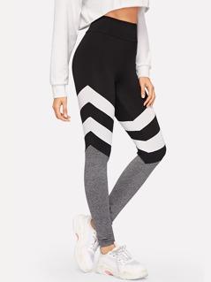 Color-block Marled Knit Leggings