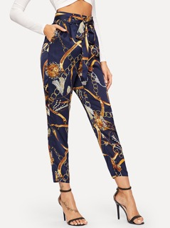 Equestrian Print Self Belted Pants