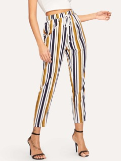Vertical-stripe Drawstring Carrot Leg Pants
