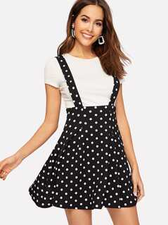 Polka Dot Textured Pinafore Skirt