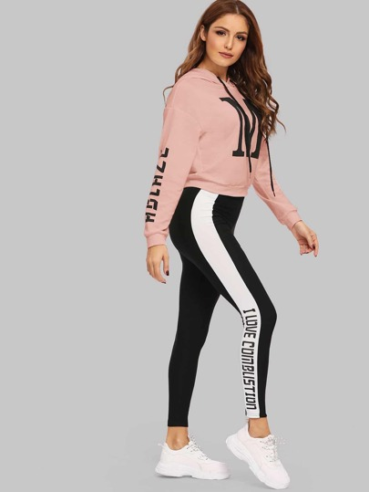 Letter Print Drawstring Hoodie & Two-tone Sweatpants Set