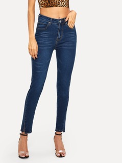 Bleach Wash Split Hem Skinny Jeans