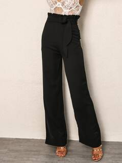 Joyfunear Paperbag Waist Wide Leg Belted Pants