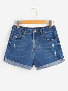 Bleach Wash Rolled Hem Denim Shorts