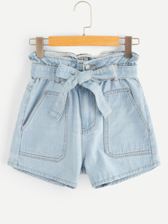 Contrast Stitch Self Belted Denim Shorts