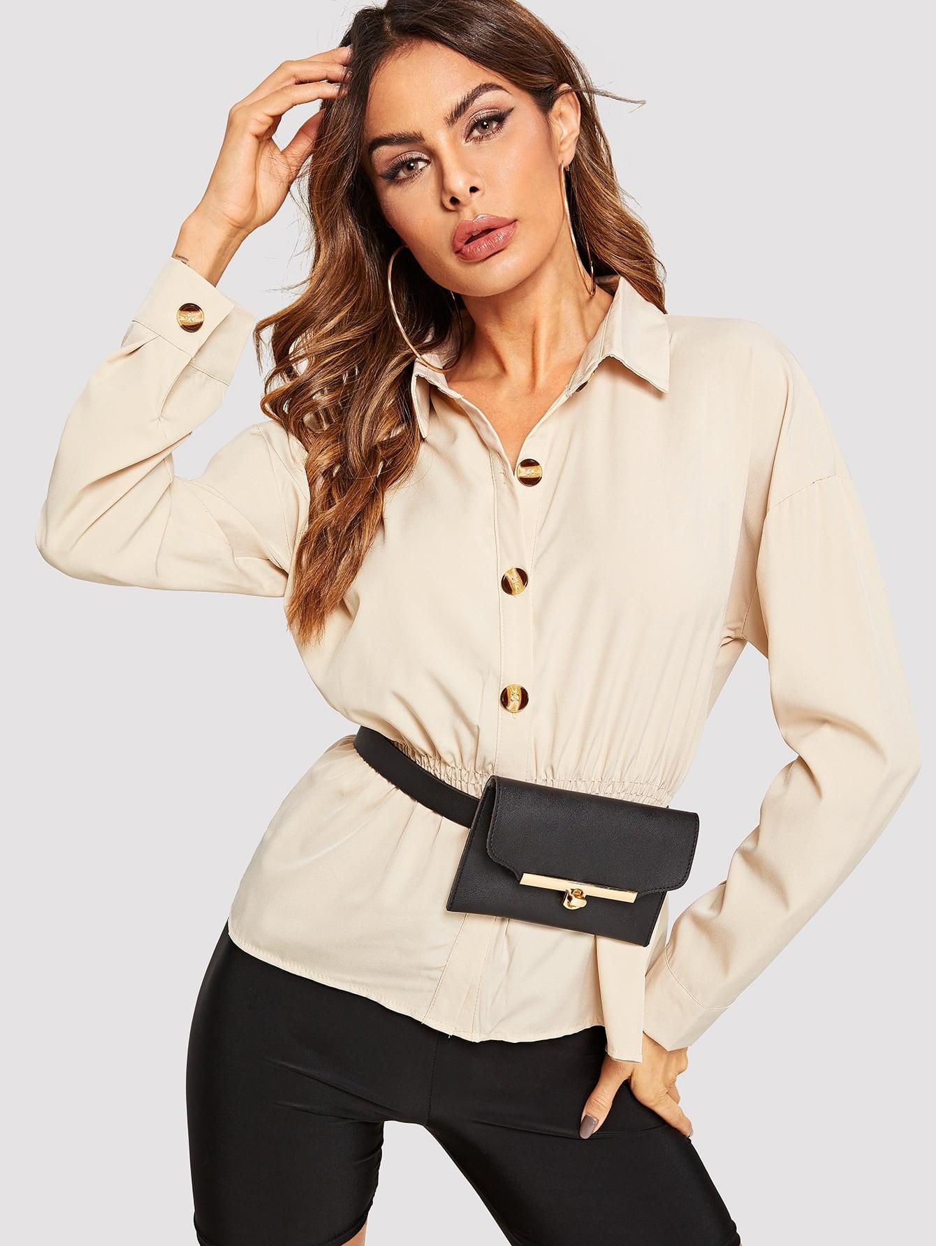 Фото - Однобортная блуза от SheIn цвета хаки