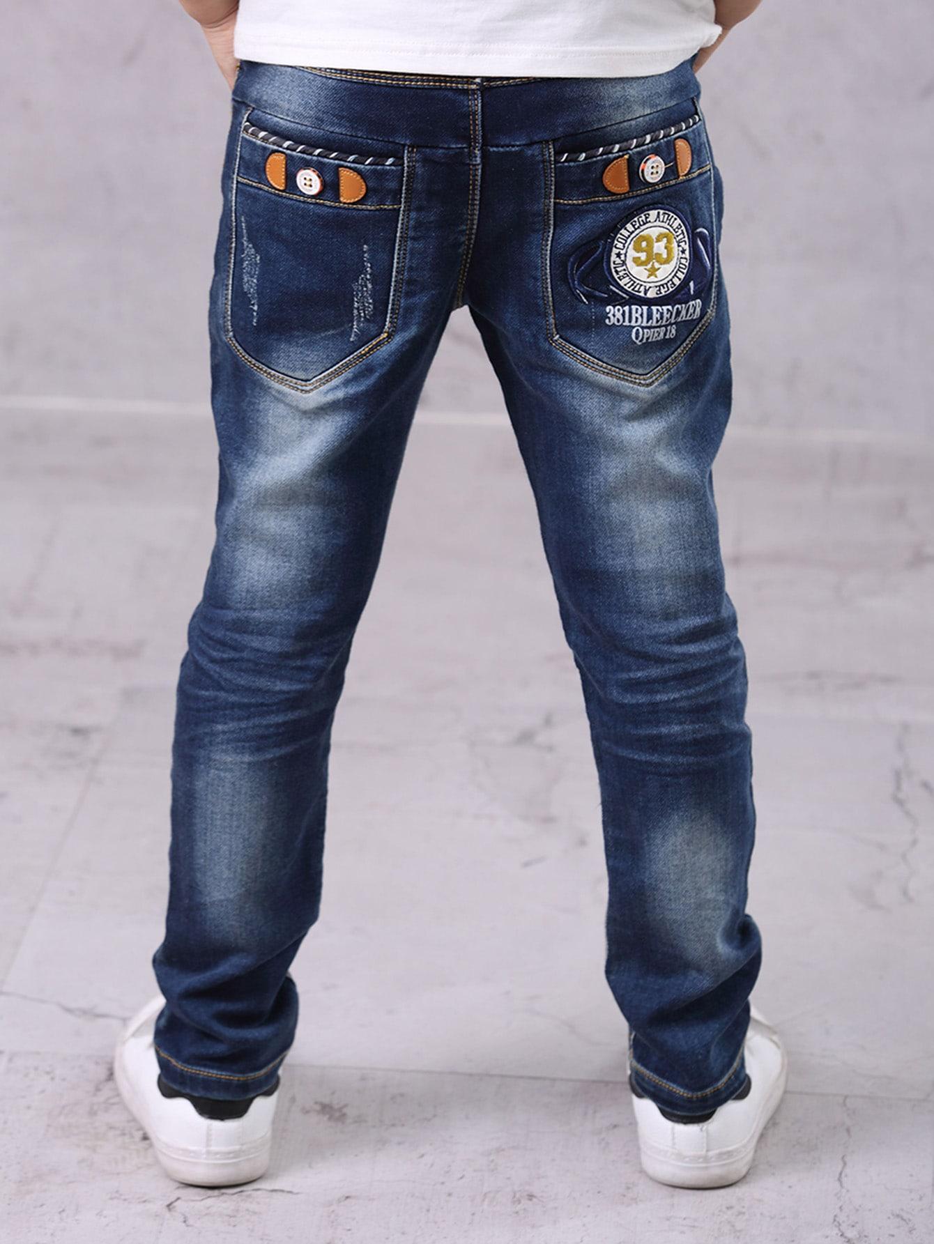 Купить Произвольные рваные джинсы с заплатой для маленьких мальчиков, null, SheIn