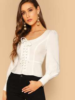 Lace-up Front Peplum Top
