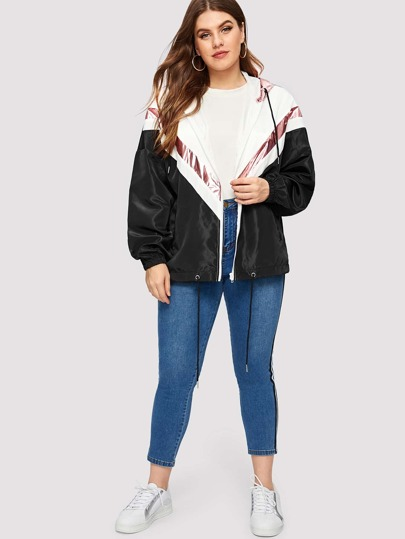 SheIn / Plus Cut And Sew Zip Up Hooded Drawstring Jacket