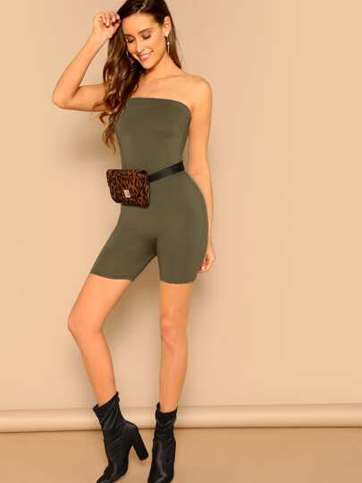 SheIn / Form Fitted Solid Tube Romper