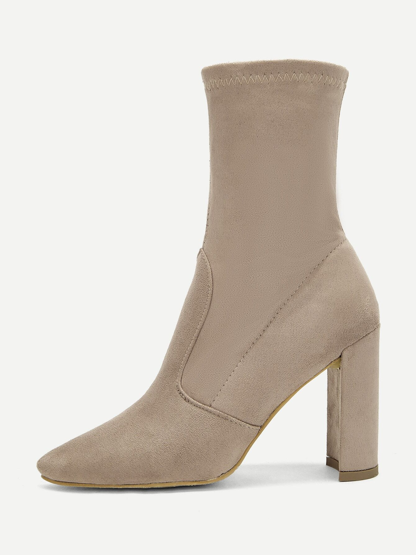 764ec88365a Solid Block Heeled Suede Boots